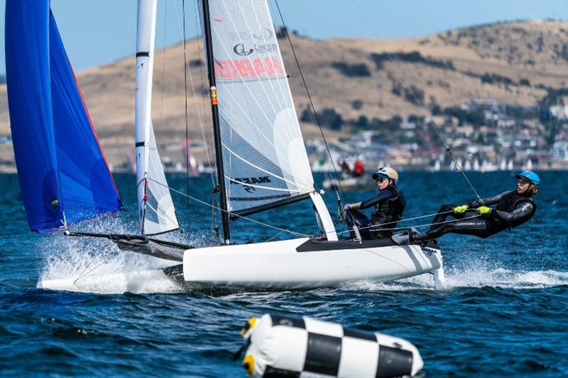 Nacra 15 team Ashleigh Swadling and Nathan Bryant (Qld) are second overall after two days - Day 2, Australian Sailing Youth Championships 2019 photo copyright Beau Outteridge taken at Royal Yacht Club of Tasmania and featuring the Nacra 15 class