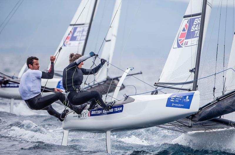 Nacra 17 racing on day 3 of World Cup Hyères - photo © Jesus Renedo / Sailing Energy