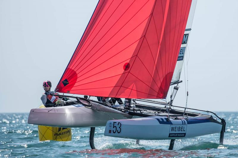 Lin Ea Cenholt and Christian Peter Lubeck lead the Nacra 17 Worlds after day 3 photo copyright YCGM taken at Yacht Club de la Grande Motte and featuring the Nacra 17 class