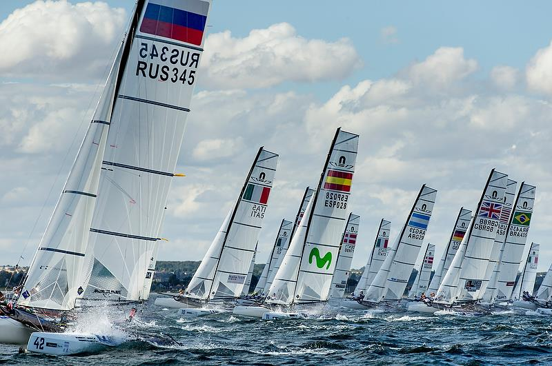 Nacra 17 - Day 10 - Hempel Sailing World Championships, Aarhus, Denmark, August 10, 2018 photo copyright Sailing Energy / World Sailing taken at  and featuring the Nacra 17 class