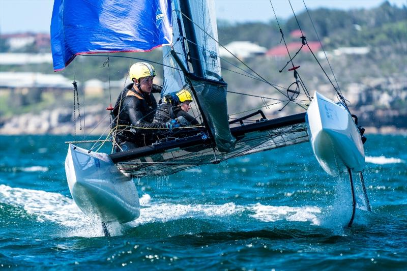 Nacra 17 - Tayla Reitman and Lachlan White in breeze, Day 3 - Sail Sydney - photo © Beau Outteridge