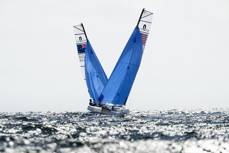 Nathan and Haylee Outteridge at close quarters with a USA entry - 2019 49er, 49erFX and Nacra 17 European Championships - photo © Drew Malcolm