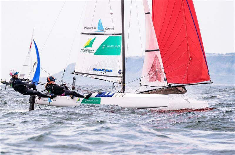 Paul Darmanin and Lucy Copeland moving on up - 2019 49er, 49erFX and Nacra 17 European Championships photo copyright Drew Malcolm taken at Weymouth & Portland Sailing Academy and featuring the Nacra 17 class