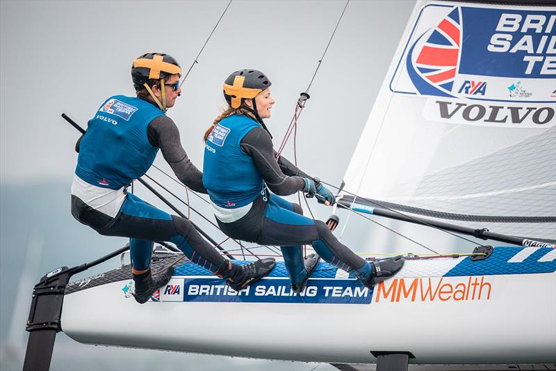 Ben Saxton and Nikki Boniface on day 6 of the Volvo Nacra 17, 49er and 49er FX European Championship photo copyright Nick Dempsey / RYA taken at Weymouth & Portland Sailing Academy and featuring the Nacra 17 class