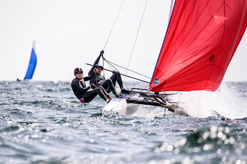 Paul Darmanin and Lucy Copeland finished 18th - 2019 49er, 49erFX and Nacra 17 European Championships photo copyright Drew Malcolm taken at Weymouth & Portland Sailing Academy and featuring the Nacra 17 class
