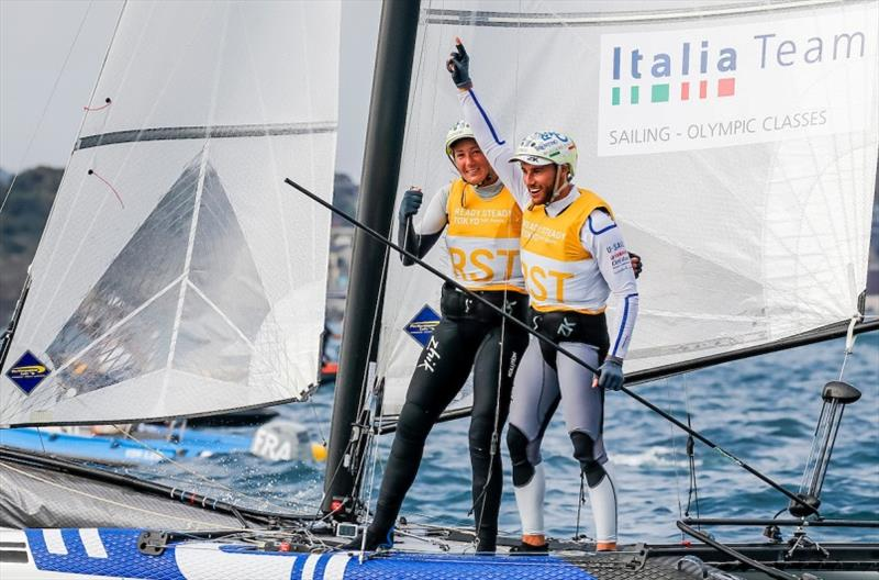 Caterina Banti (L) celebrates with helm Ruggero Tita (ITA) after securing victory at Ready Steady Tokyo - photo © Jesus Renedo / Sailing Energy / World Sailing