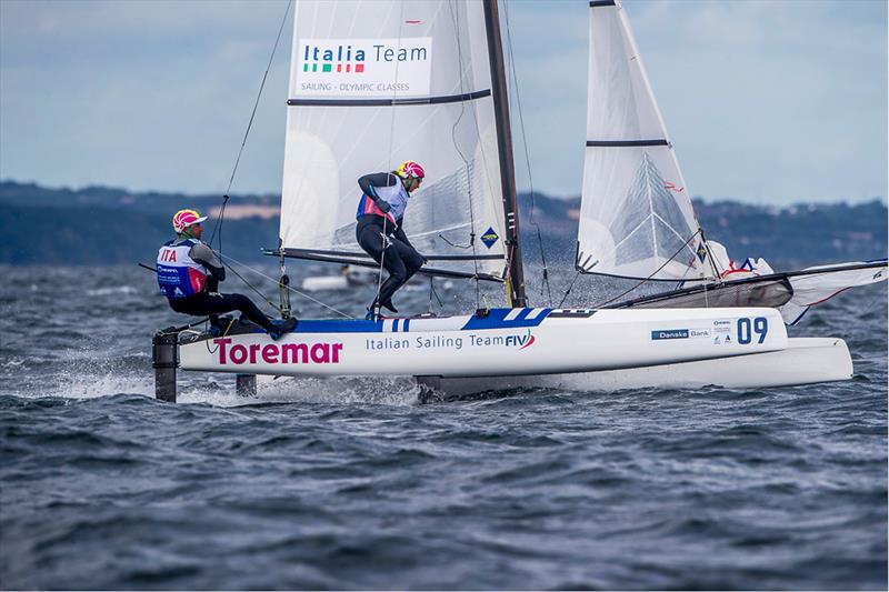 Lorenzo Bressani and Cecilia Zorzi (ITA) competing at the 2018 World Nacra 17 Championships at Aarhus, Denmark photo copyright Sailing Energy / World Sailing taken at Sailing Aarhus and featuring the Nacra 17 class