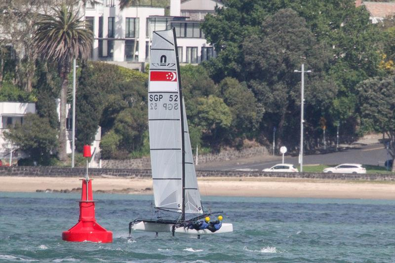 Singapore Nacra 17 gets foiling on the Waitemata Harbour ahead of the 2019 World Championships. The 49er, 49erFX and Nacra 17 World Championships get under way in four weeks. - photo © Richard Gladwell
