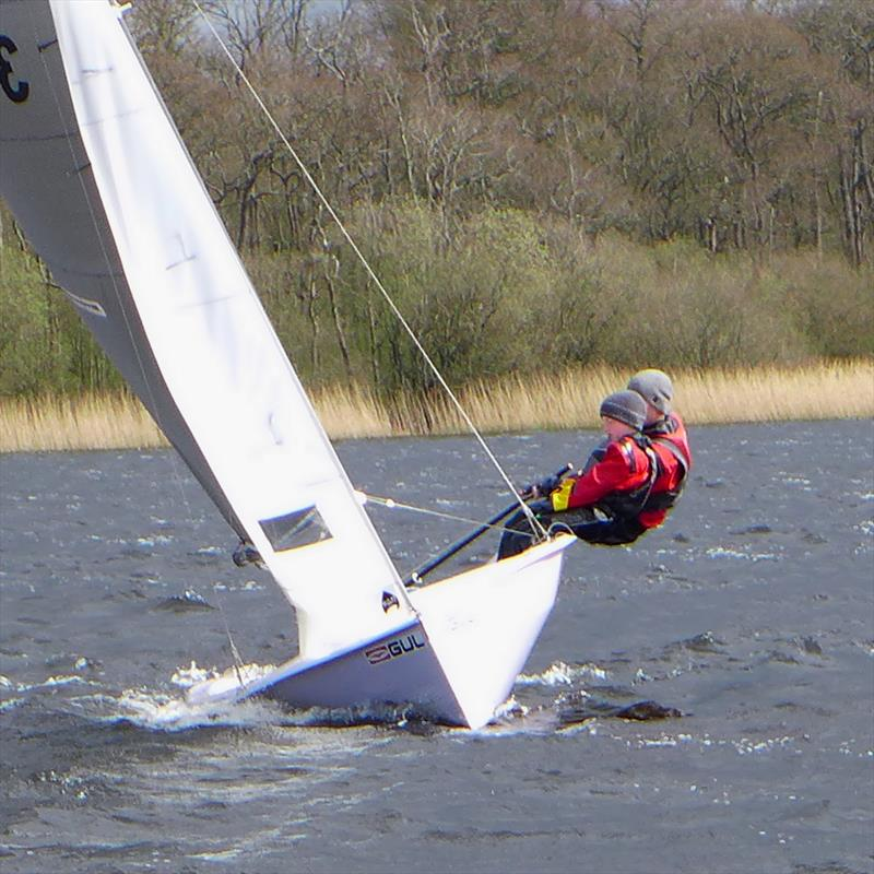 Ed and Tom Storey, 3rd overall after close racing in challenging conditions at the National 12 Scottish Championships photo copyright Stewart Mitchell taken at Annandale Sailing Club and featuring the National 12 class
