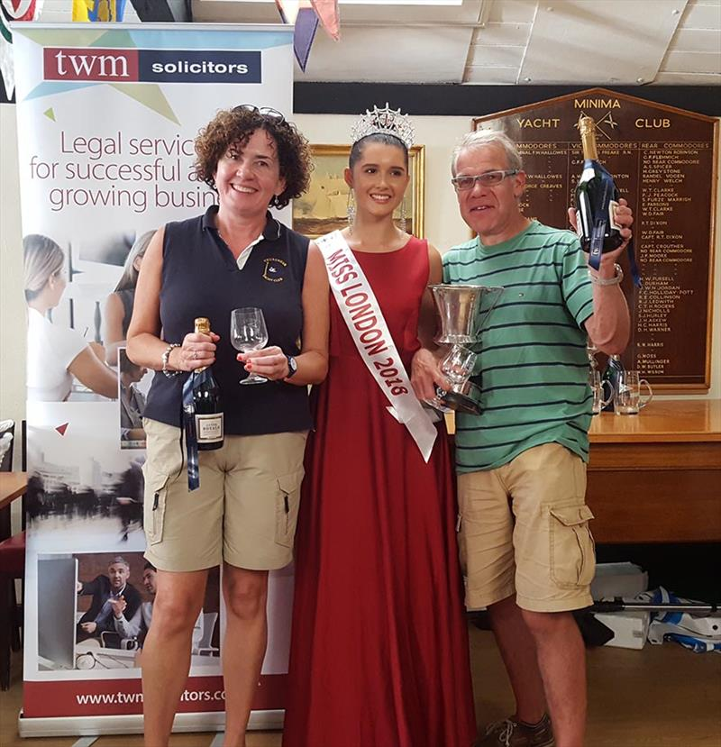 National 12 class winners Alistair Edwards and Chantelle Barletta receiving their trophy from Miss London, Chiara King during the Minima Regatta 2018 - photo © Keith Payne