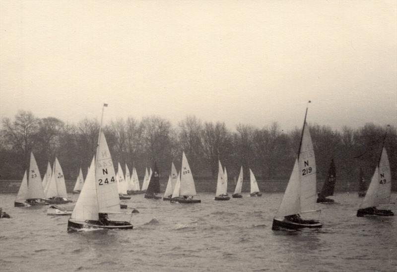 Even the outbreak of war did not stop dinghy racing on the Thames in London, with Putney being the place for N12 racing in the winter. Michael is somewhere in the thick of the fleet at the far end of the line photo copyright Henshall taken at  and featuring the National 12 class