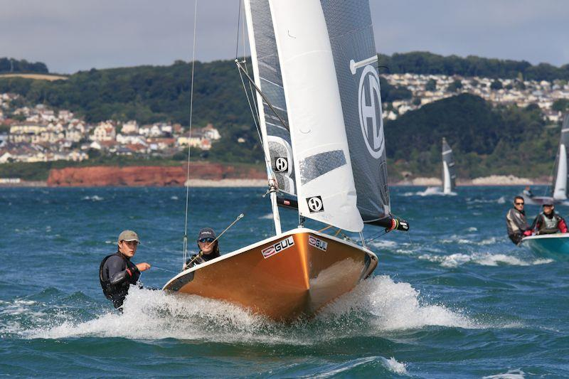 Nick Copsey and Joanne Sallis enjoying the ride in their foiling National 12 - photo © Gareth Fudge / www.boatographic.co.uk