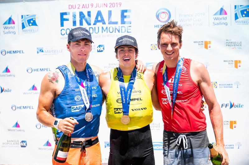 Windsurfing men's winners podium at the Hempel World Cup Series Final in Marseille photo copyright Sailing Energy / World Sailing taken at  and featuring the RS:X class