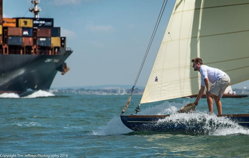 Never a dull moment in the Solent for Gaffer Rosenn on day 3 of Cowes Classics Week - photo © Tim Jeffreys Photography