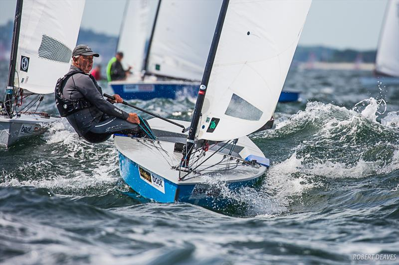 Greg Wilcox on day 3 of the OK Dinghy European Championship in Kiel, Germany - photo © Robert Deaves