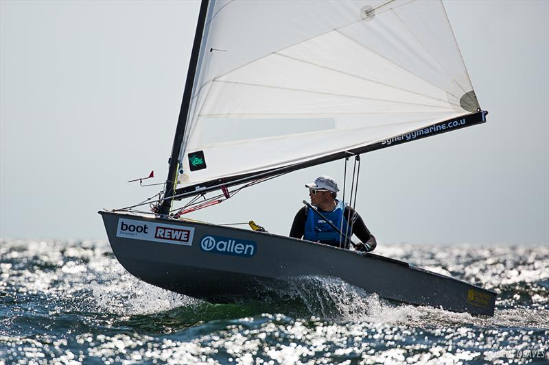 Simon Cox on day 3 of the OK Dinghy European Championship in Kiel, Germany - photo © Robert Deaves