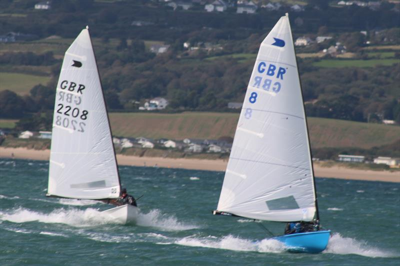 Richard Burton leads Nick Craig during the OK Nationals at Abersoch photo copyright Peter Hawkins / SCYC taken at South Caernarvonshire Yacht Club and featuring the OK class