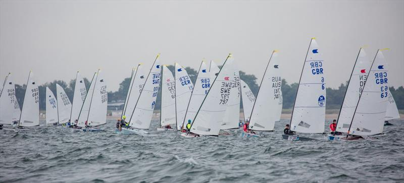 Start of race 3 on day 2 of the OK Dinghy World Championship - photo © Robert Deaves
