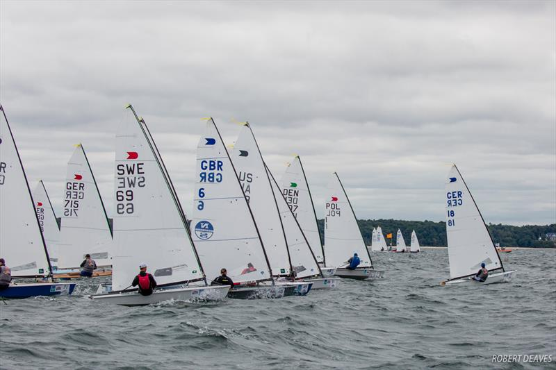 Jan Kurfeld's costly start on day 5 at 2018 OK Dinghy World Championship, Warnemünde photo copyright Robert Deaves taken at  and featuring the OK class