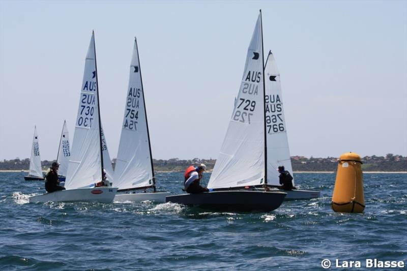 Andre Blasse leads a group around the top mark - Australian OK Dinghy Nationals - photo © Lara Blasse