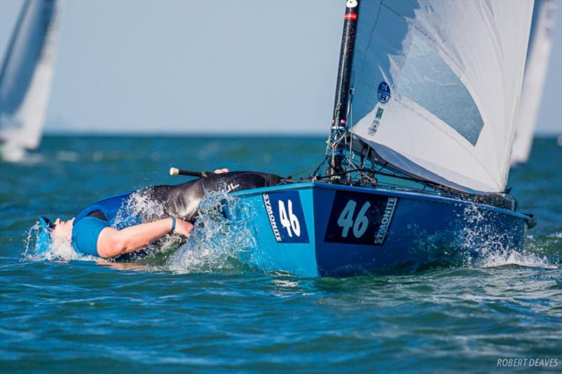 Richard Burton celebrates winning Race 3 - Symonite OK Worlds, Day 2 - photo © Robert Deaves