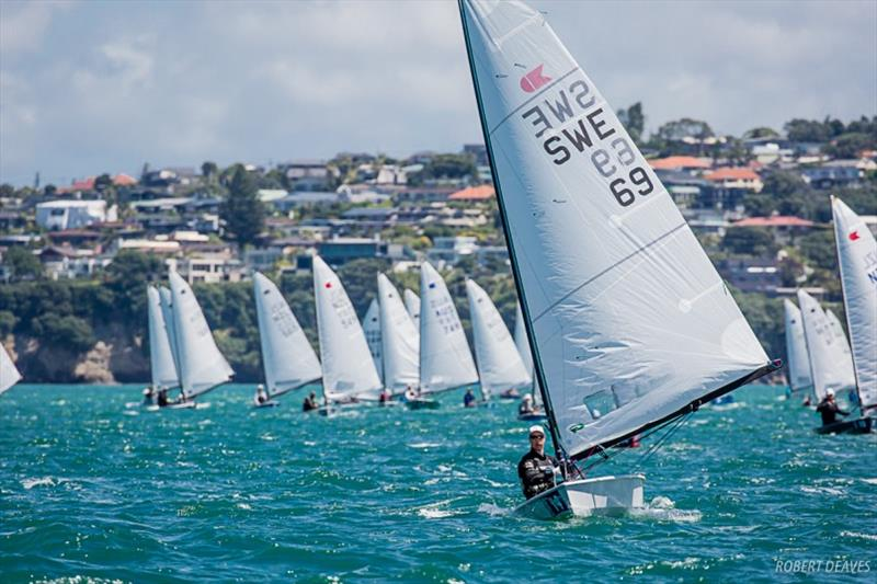 Lööf leads downwind - Symonite OK Dinghy Worlds, Day 3 photo copyright Robert Deaves taken at Wakatere Boating Club and featuring the OK class