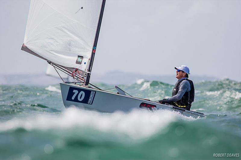 OKDIA's Vice-President Mike Wilde during the windy Invitation Race - 2019 Symonite OK Dinghy World Championship - photo © Robert Deaves