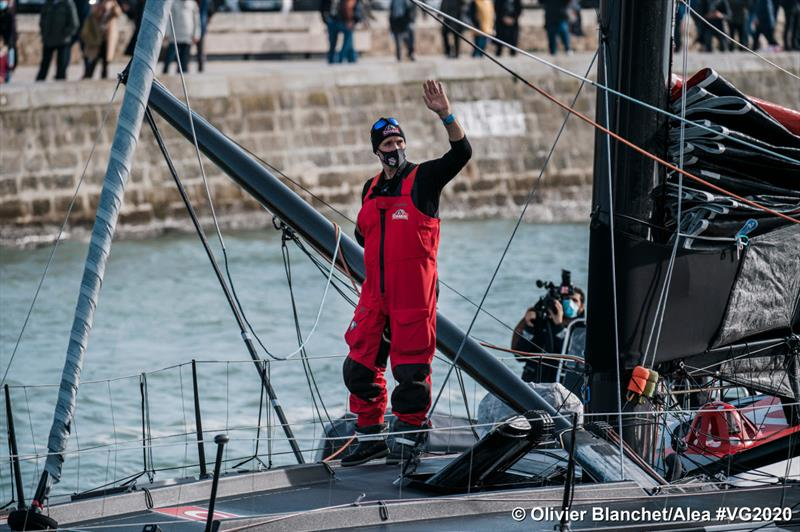 Jérémie Beyou (Charal) returns to Les Sables d'Olonne in the Vendée Globe photo copyright Olivier Blanchet / Alea #VG2020 taken at  and featuring the IMOCA class