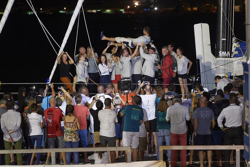 Meilhat celebrating his biggest win to date on the dock in Guadeloupe - 2018 Route du Rhum-Destination Guadeloupe - photo © Yvan Zedda