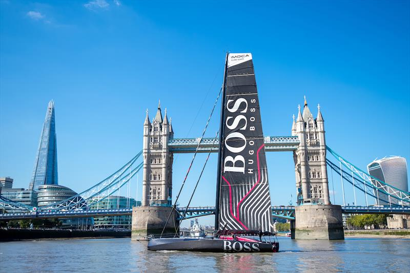 Alex Thomson unveils new HUGO BOSS yacht in front of Tower Bridge photo copyright Lloyd Images taken at  and featuring the IMOCA class