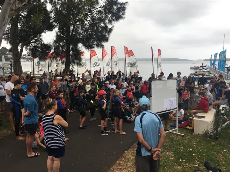 2019 NSW O'pen Skiff Champs & The Dolphin Chaser briefing photo copyright James Lelaen taken at Mannering Park Amateur Sailing Club and featuring the O'pen Skiff class