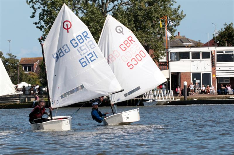 Jemima Gotto (6121) and Milo Clabburn (5300), the 1st two in the Slow Handicap fleet at the Broadland Youth Regatta - photo © Robin Myerscough