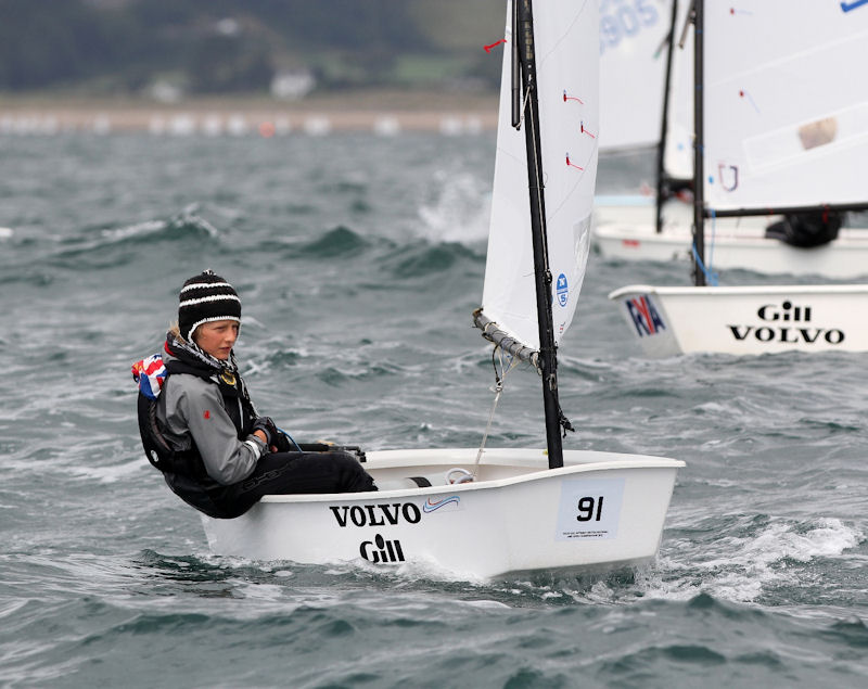 Arthur Brown wins the Junior fleet title at the Volvo Gill Optimist British Nationals photo copyright Andy Green taken at Pwllheli Sailing Club and featuring the Optimist class
