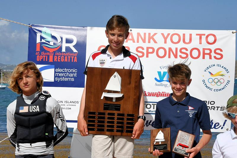 Top Three Sailors at 2018 26th International Optimist Regatta. L to R: Stephan Baker, Peter Foley and Tommy Sitzmann. - photo © Dean Barnes