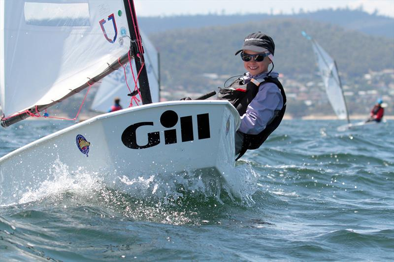 Faye Read was really enjoying her sailing in the Optimists on the River Derwent - International Optimists National Championship 2019 photo copyright Pete Harmsen taken at Sandy Bay Sailing Club and featuring the Optimist class