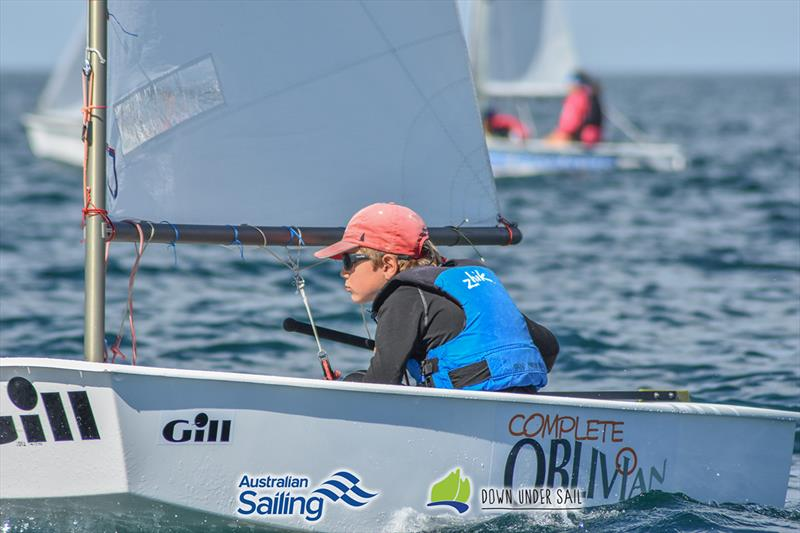 Ian Irwin racing in the Optimist fleet last year - South Australian Youth Championships - photo © Harry Fisher
