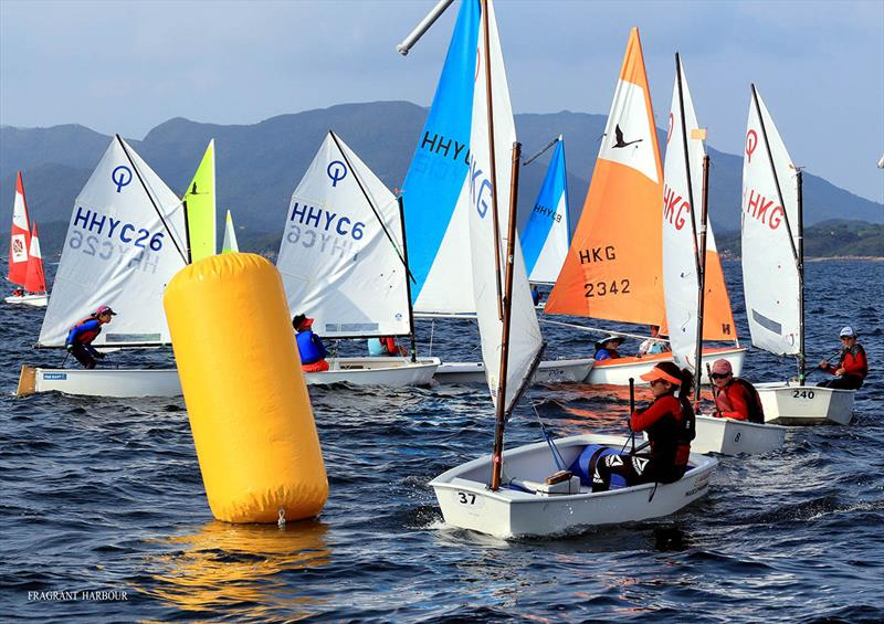 Windward mark of Dinghy Race 2 - Bart's Bash Regatta 2019 photo copyright Fragrant Harbour taken at Hebe Haven Yacht Club and featuring the Optimist class