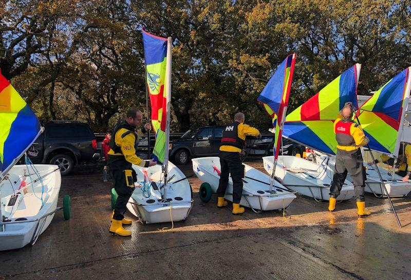 Members of the Lymington Lifeboat Crew arrive for their annual Optimist race - 24 hour Salterns Sailathon - photo © Tanya Baddeley
