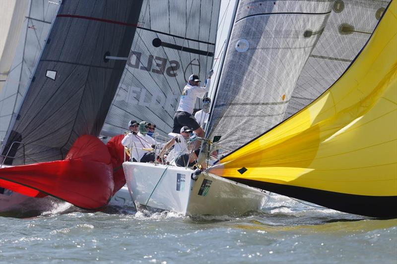Close mark roundings on the ORC course on day 1 at Charleston Race Week - photo © Charleston Race Week / Tim Wilkes