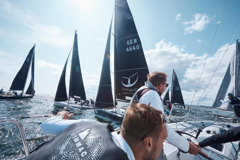 Close start line action in a practice start in the highly contentious Class C from on board Marcus Schiermann's Italia 9.98 Immac Fram - SSAB ORC European Championship 2019 - photo © Felix Diemer