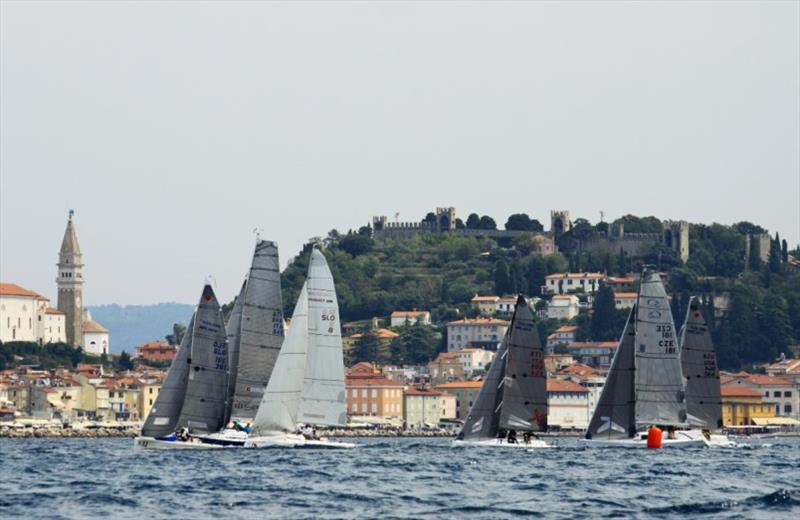Division A racing along the scenic and historic Piran waterfront - 2019 ORC European Sportboat Championship photo copyright Jana Pines / YCMP taken at Yacht Club Marina Portorož and featuring the ORC class