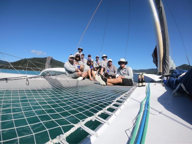 ORMA 60 crew - French champagne to celebrate the win - 2020 Airlie Beach Race Week, final day - photo © ORMA 60