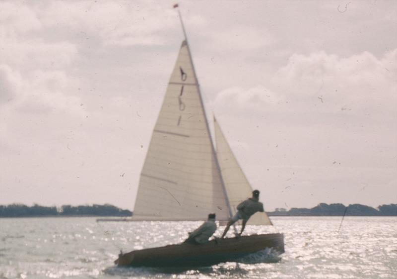 A rare picture of the prototype Osprey being driven hard by Michael Goffe in breeze on the waters of Chichester Harbour during an 'unofficial yet official' set of IYRU Trials - photo © David Chivers / Austin Farrar Archive