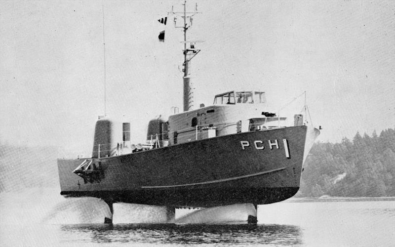 The US Navy would persist with foiling development, such as this 115ft long, 110 ton Fast Patrol Boat. Driven along by gas turbines developing over 6,000 h.p. ride height and control came via an onboard electronic computer - photo © US Information Service