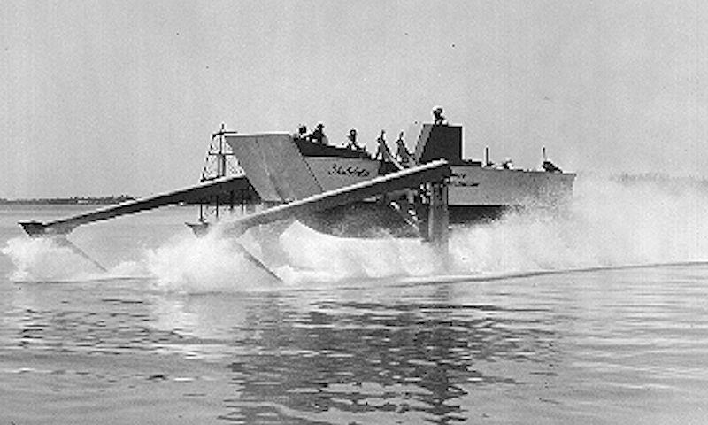For all you Moth sailors out there, this is what the first practical wands looked like. With twin forward foils, Christopher Hook used two of his Hydrofins, with independent operation, to provide stability as well as controlling ride height. photo copyright US Information Service taken at  and featuring the Power boat class