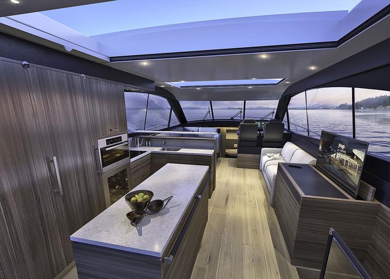 Main deck level of the Maritimo X60. photo copyright Maritimo taken at  and featuring the Power boat class