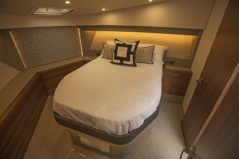 For'ard VIP Stateroom with offset island Queen bed, and loads of storage. - photo © John Curnow