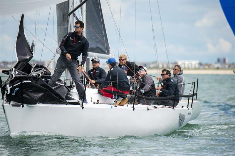 Tony Hayward's Blackfun won the final race of the day on day 2 of the Quarter Ton Cup - photo © Waterline Media