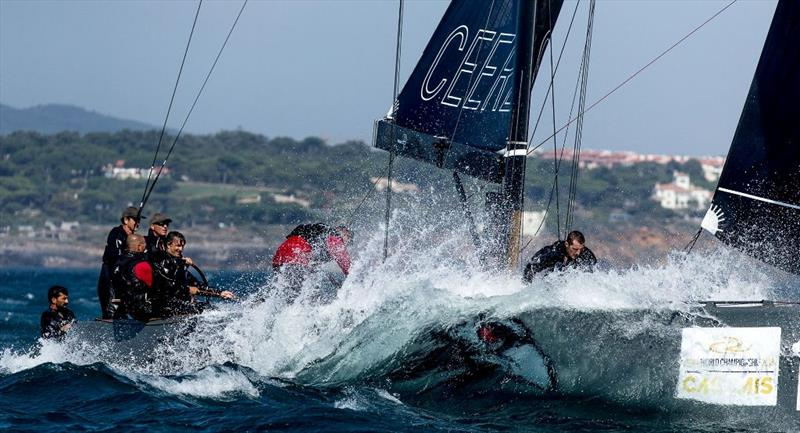Igor Lah's Team CEEREF breaks through the Atlantic swell - photo © Martinez Studio / RC44 Class