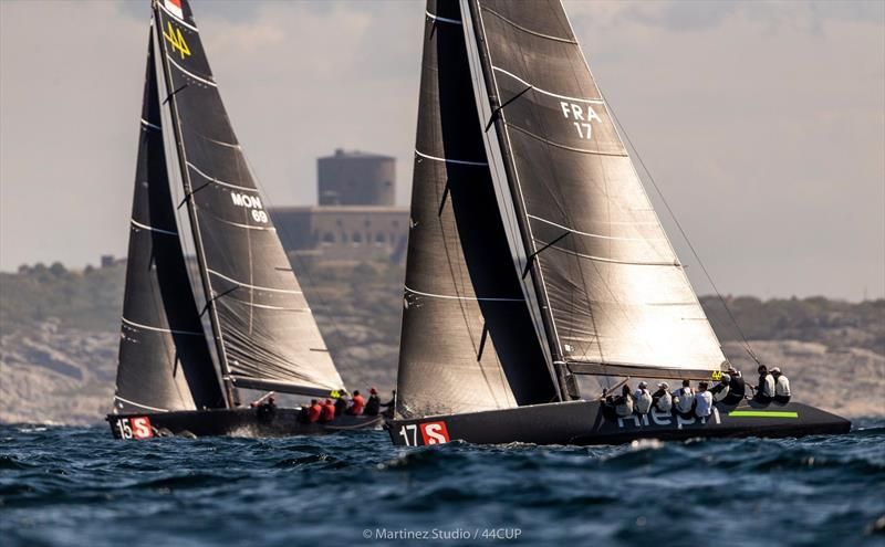Overall winner after day 1 - Aleph Racing leads Nico Poons' Charisma up the beat - 44Cup Marstrand World Championship 2019 photo copyright Pedro Martinez / Martinez Studio taken at  and featuring the RC44 class